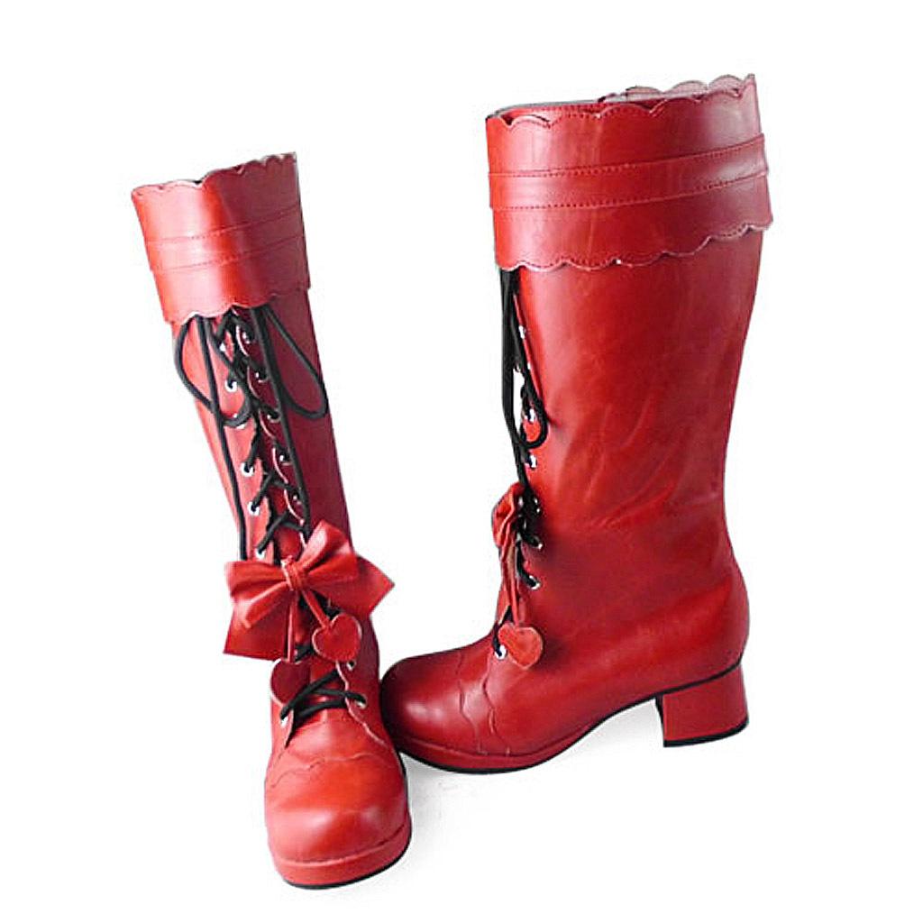 1.8 Inch Heel Mid Calf Round Toe Black Strape Bow Red PU Lolita Boots