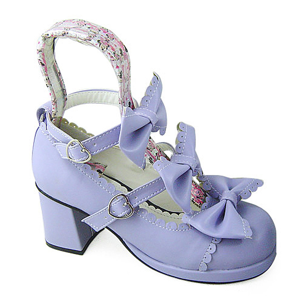 2.5 Inch Heel Ankle High Round Toe Bows Decor Purple Lolita Sandals Shoes