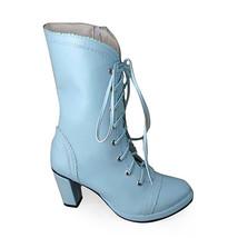 3.4 Inch Heel Mid Calf Round Toe Blue PU Lolita Boots image 1