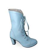 3.4 Inch Heel Mid Calf Round Toe Blue PU Lolita Boots - $69.78