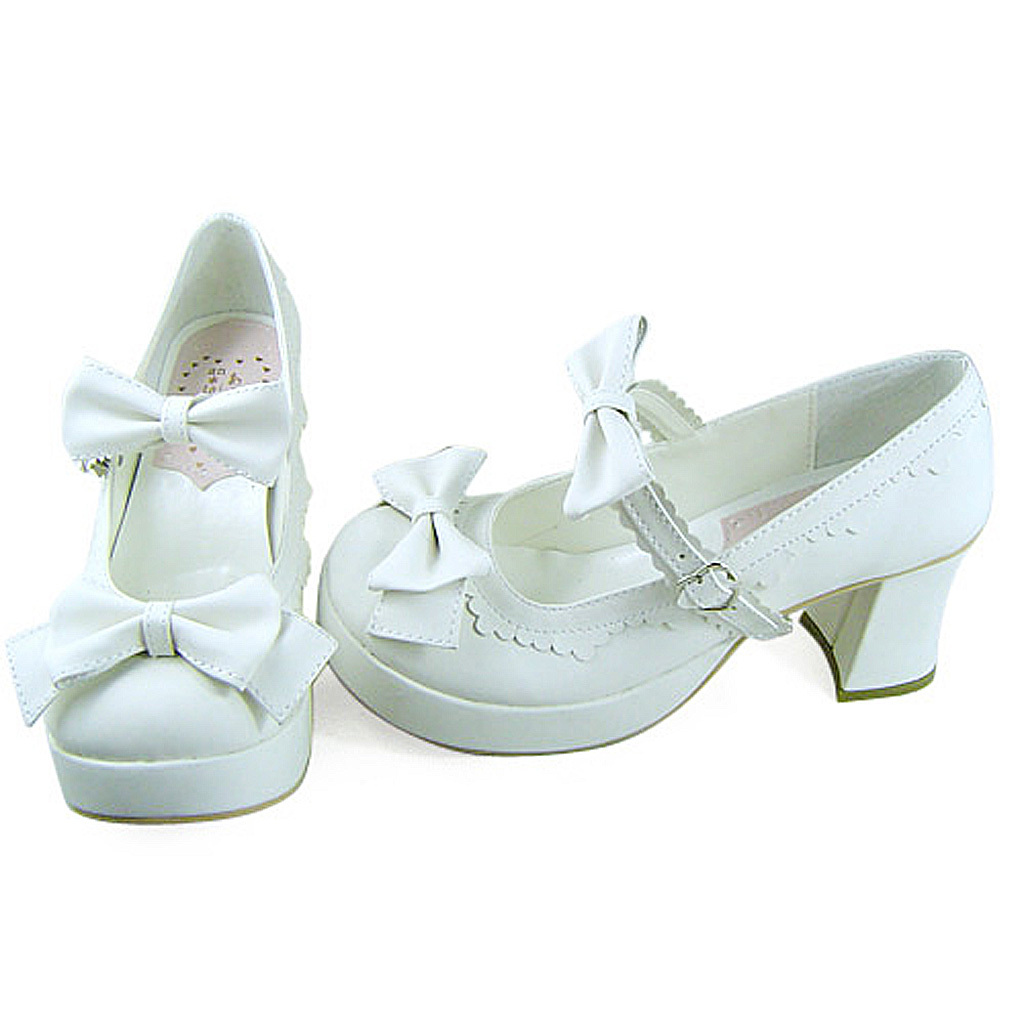 3 Inch Heel Ankle High Round Toe Bows Decor White PU Lolita Sandals Shoes