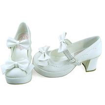 3 Inch Heel Ankle High Round Toe Bows Decor White PU Lolita Sandals Shoes image 2