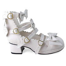 1.8 Inch Heel Ankle High Round Toe Bows Decor White PU Lolita Shoes - $51.55