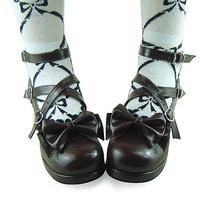 1.8 Inch Heel Ankle High Round Toe Bow Decor Dark Brown PU Lolita Shoes image 3