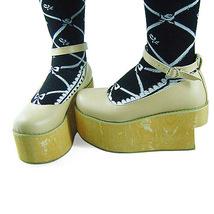 3.6 Inch Platform Ankle High Round Toe Beige PU Flatform Lolita Shoes image 2