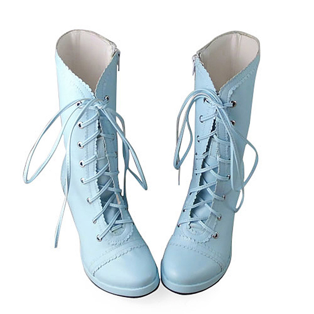 3.4 Inch Heel Mid Calf Round Toe Blue PU Lolita Boots