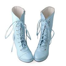 3.4 Inch Heel Mid Calf Round Toe Blue PU Lolita Boots image 2