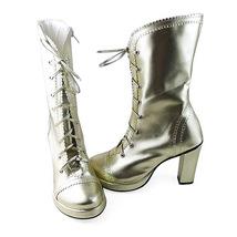 3.4 Inch Heel Mid Calf Round Toe Gold PU Lolita Boots image 2