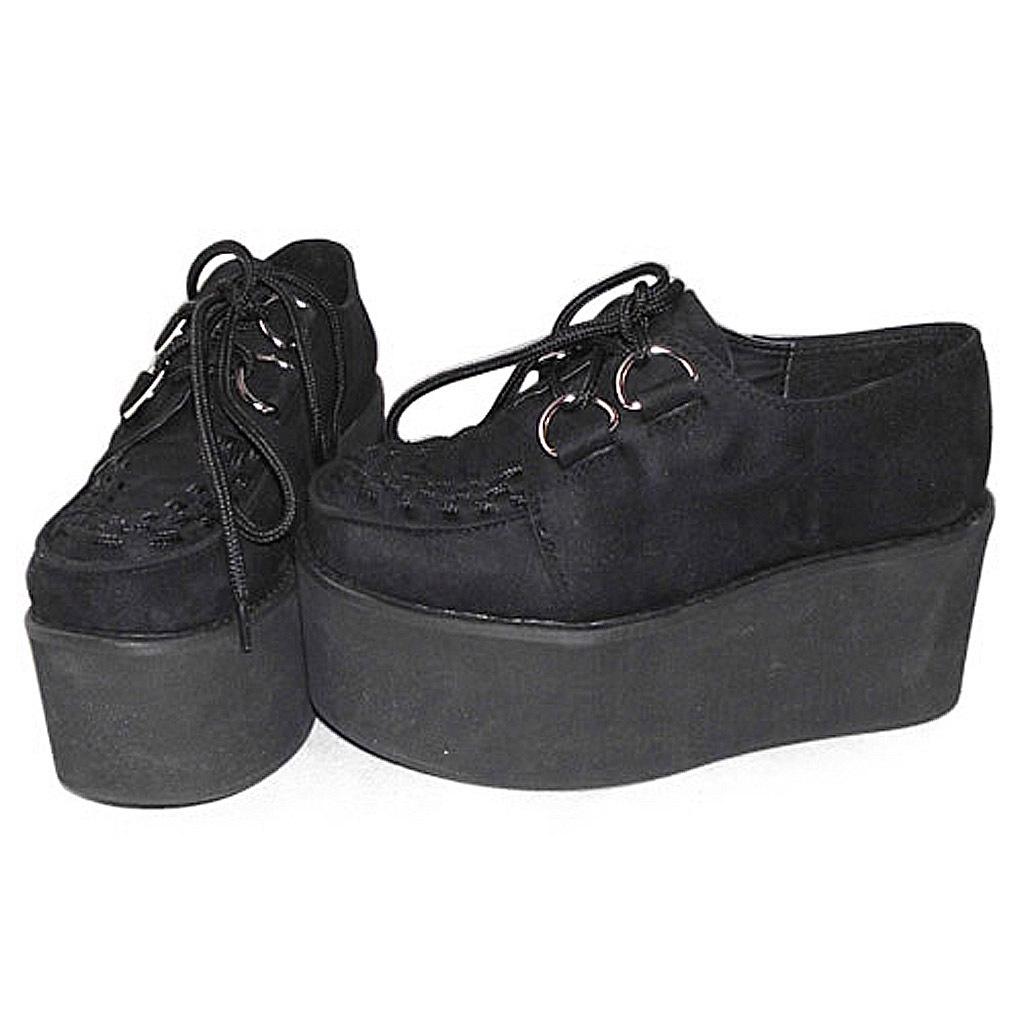 3.2 Inch Platform Ankle High Round Toe Suede Black Flatform Lolita Shoes