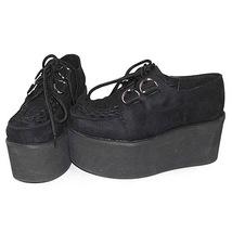 3.2 Inch Platform Ankle High Round Toe Suede Black Flatform Lolita Shoes image 3