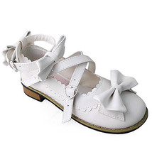 Low Heel Ankle High Round Toe Bows Decor White PU Lolita Shoes - $46.34