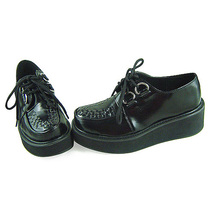 2 Inch Platform Ankle High Round Toe Black PU Flatform Lolita Shoes image 3