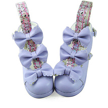 2.5 Inch Heel Ankle High Round Toe Bows Decor Purple Lolita Sandals Shoes image 2