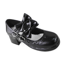 1.8 Inch Heel Ankle High Round Toe Tow Bows Black PU Lolita Shoes Sandals - $46.34