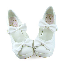 3 Inch Heel Ankle High Round Toe Bows Decor White PU Lolita Sandals Shoes image 3