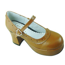 3 Inch Heel Ankle High Round Tow Light Brown Lolita Sandals Shoes - $46.34