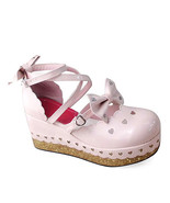 2.8 Inch Platform Ankle High Round Toe Bows Decor Pink PU Flatform Lolit... - $48.95