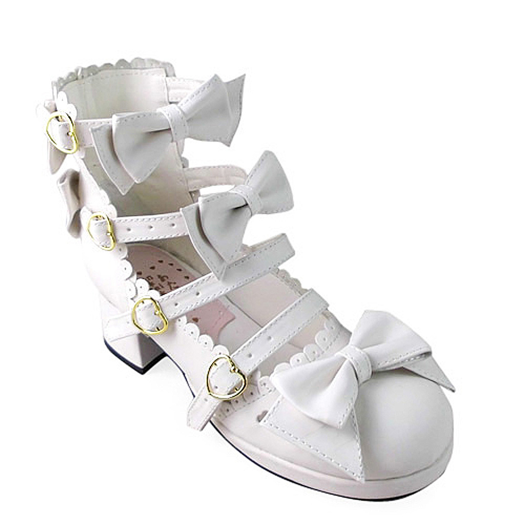 1.8 Inch Heel Ankle High Round Toe Bows Decor White PU Lolita Shoes