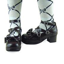 1.8 Inch Heel Ankle High Round Toe Bow Decor Dark Brown PU Lolita Shoes image 4