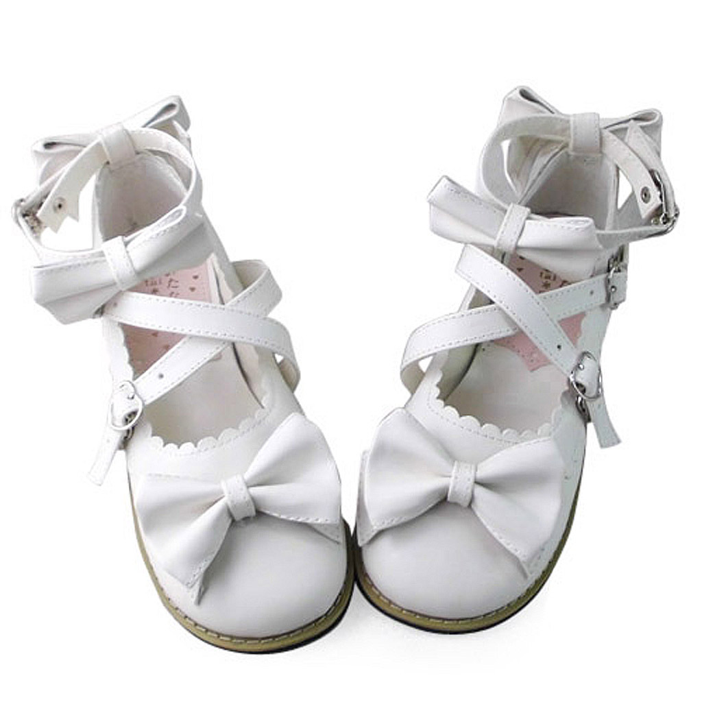 Low Heel Ankle High Round Toe Bows Decor White PU Lolita Shoes
