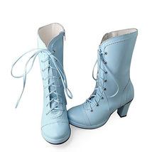 3.4 Inch Heel Mid Calf Round Toe Blue PU Lolita Boots image 3