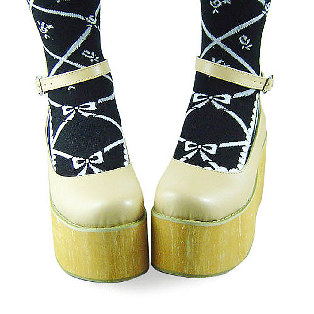 3.6 Inch Platform Ankle High Round Toe Beige PU Flatform Lolita Shoes