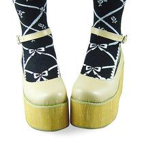 3.6 Inch Platform Ankle High Round Toe Beige PU Flatform Lolita Shoes image 3