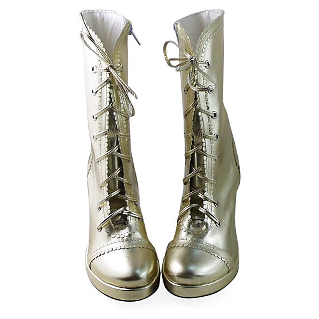 3.4 Inch Heel Mid Calf Round Toe Gold PU Lolita Boots