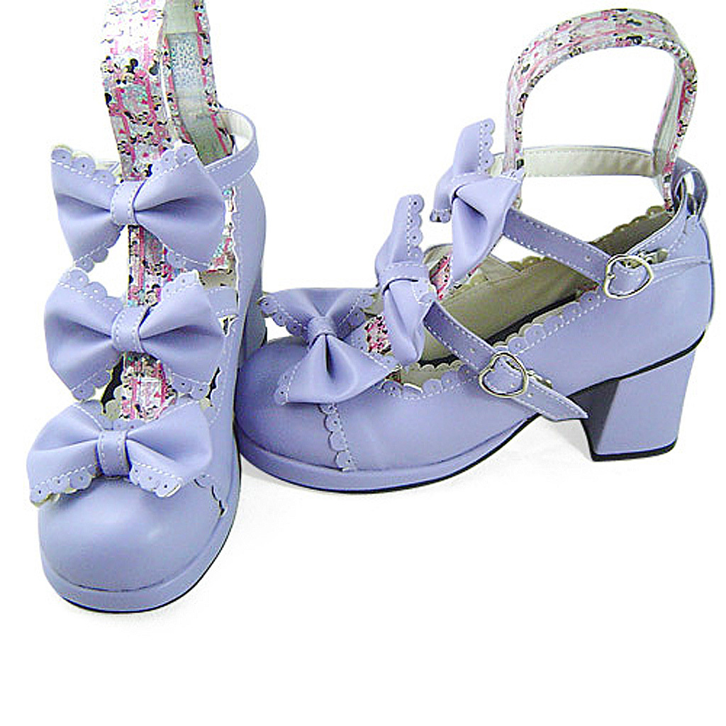 2.5 Inch Heel Ankle High Round Toe Bows Decor Purple Lolita Sandals Shoes image 3