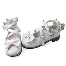 Low Heel Ankle High Round Toe Bows Decor White PU Lolita Shoes image 3