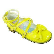 Low Heel Ankle High Round Toe Bow Yellow PU Lolita Sandals Shoes - $43.74