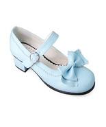 1.8 Inch Heel Round Toe Ankle High Bow Light Blue PU Lolita Shoes Sandals - $43.74