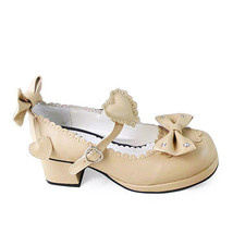 1.8 Inch Heel Ankle High Round Toe Bow and Heart Decor Beige PU Lolita Sandals S - $43.74