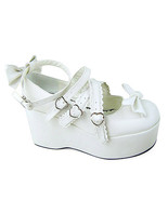 3.2 Inch Platform Ankle High Round Toe Bow White PU Flatform Lolita Shoes - $46.34