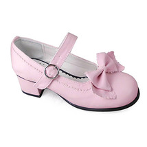 1.8 Inch Heel Round Toe Ankle High Bow Pink PU Lolita Shoes Sandals - $43.74