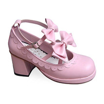 2.5 Inch Heel Ankle High Round Toe Bows Decor Pink Lolita Sandals Shoes - $46.34