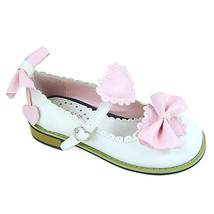 Low Heel Ankle High Round Toe Pink Bows White PU Lolita Shoes Sandals - $43.74