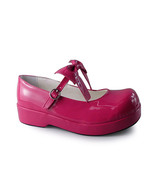 1.6 Inch Heel Ankle High Round Toe Bow Pink Lolita Shoes Sandals - $43.74