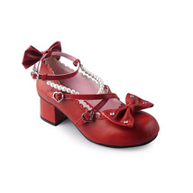 1.8 Inch Heel Ankle High Round Toe Wine Red Bow Decor PU Lolita Shoes Sandals - $46.34
