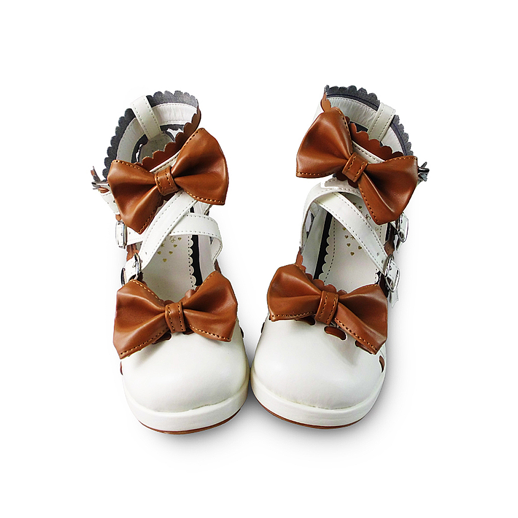 1.8 Inch Heel Round Toe Ankle High Brown and White PU Lolita Sandals Shoes - $43.74