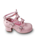 1.8 Inch Heel Ankle High Round Toe Bows Decor Pink PU Lolita Sandals Shoes - $46.34