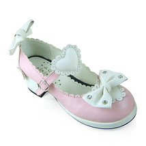 1.8 Inch Heel Ankle High Round Toe White Bows and Heart Pink PU Lolita Sandals S - $43.74