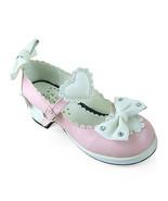 1.8 Inch Heel Ankle High Round Toe White Bows and Heart Pink PU Lolita S... - $43.74