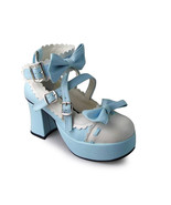 3 Inch Heel 1.2 Inch Platform Ankle High Round Toe Bow Blue and White Lo... - $43.74