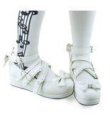 2.4 Inch Platform Ankle High Round Bow White PU Flatform Lolita Shoes - $43.74