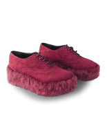 2.4 Inch Platform Ankle High Pointed Toe Puffer Suede Wine Red Lolita Fl... - $74.98