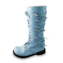 1.6 Inch Heel Square Toe Mid Calf Zipper Blue PU Lolita Boots - $82.79