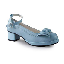 1.8 Inch Heel Round Toe Ankle High Bow Blue PU Lolita Sandals Shoes - $46.34