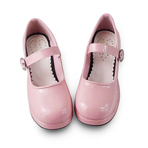 1.8 Inch Heel Round Toe Ankle High Pink PU Lolita Shoes image 2