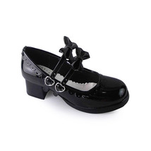 1.8 Inch Heel Round Toe Ankle High Bow Black PU Lolita Shoes - $43.74